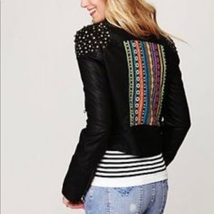 Free people embellished vegan leather motto jacket